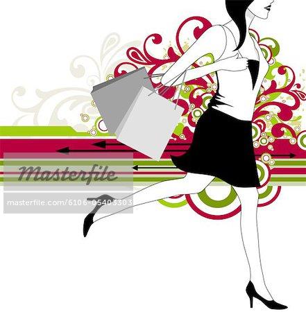 shopping girl with shopping bag