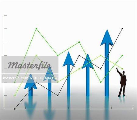 Line graph and an upward arrow