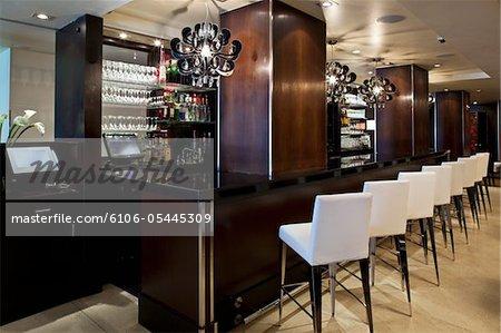 Still shot of modern lounge and bar interior