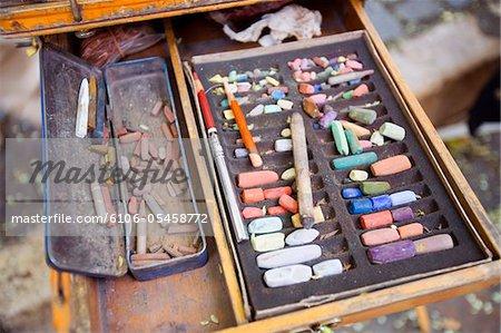 Box with artist's pastel chalks