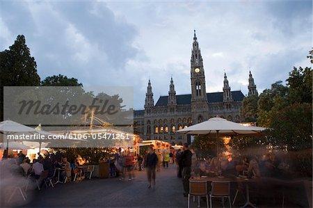 Austria, Vienna, food stalls by  Neues Rathaus