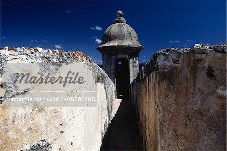 Ruins and old building, El Morro, Old San Juan, Puerto Rico
