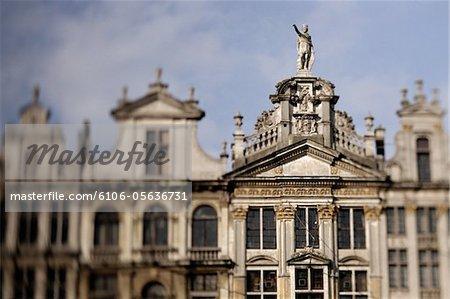 Belgium, Brussels, Grande Place, guildhalls, exterior (focus on right)