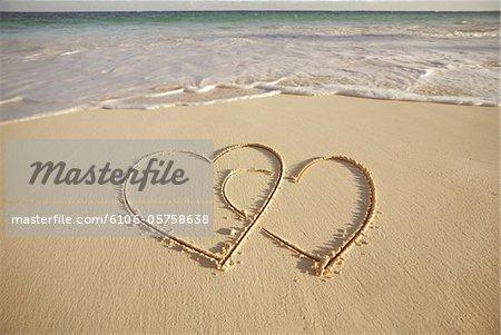 2 Hearts drawn on the beach