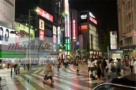 Busy Street in Namba, Osaka at Night