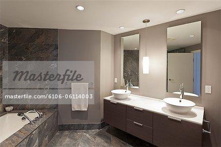 Modern condo interior, bathroom
