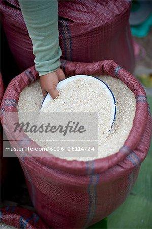 Bag of Rice in outdoor market