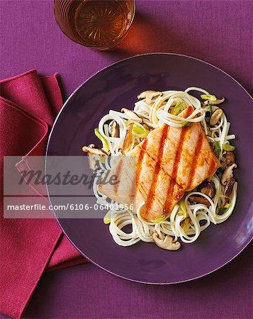 Salmon Steak on Udon Noodles