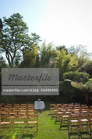 Wedding chairs in gardens