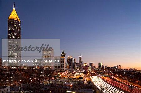 Downtown Atlanta in evening.