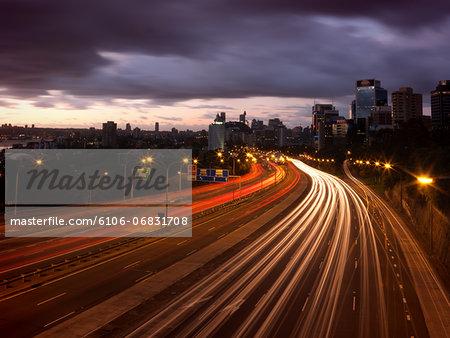 Freeway lights at dawn