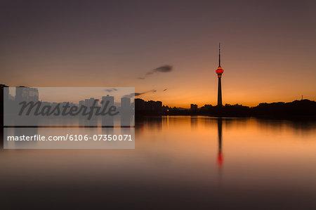 Beijing skyline in sunset