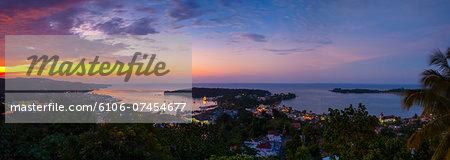 Elevated view over Port Antonio, Jamaica