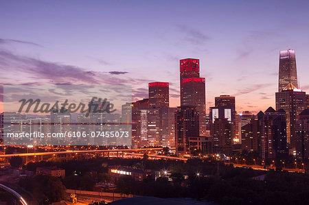 evening cityscape of Beijing CBD area