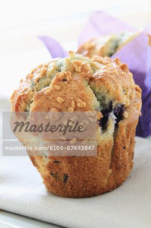 Blueberry muffin  on napkin