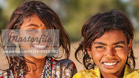 Happy Indian children in desert village