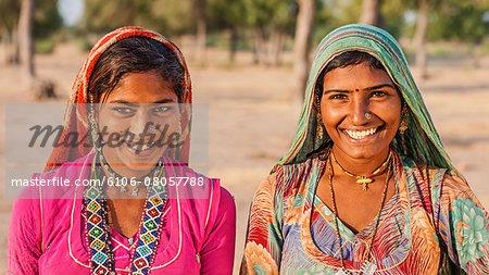 Young Indian women in desert village