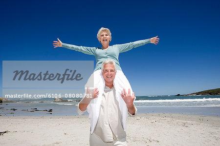 Seniors couple at beach
