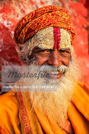 Sadhu, indian holyman sitting in temple