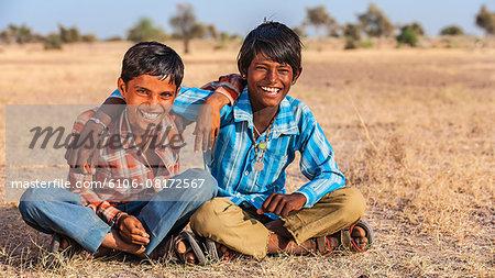 Two Indian boys on Thar Desert