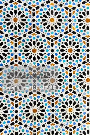 Arabic mosaic inside medina of Fes in Morocco