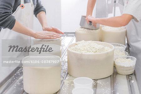 Cheese makers preparing ewe cheese