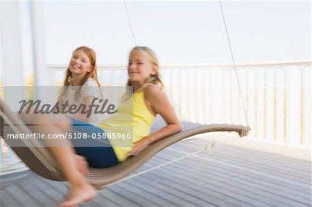 Two girls in a hammock