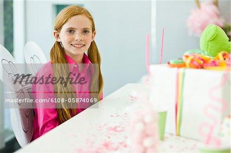 Portrait of a girl celebrating her birthday
