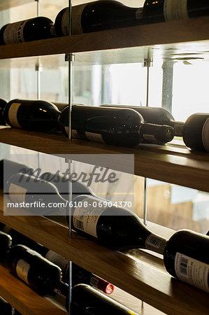 Wine bottles in racks