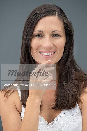 Portrait of a beautiful smiling woman posing