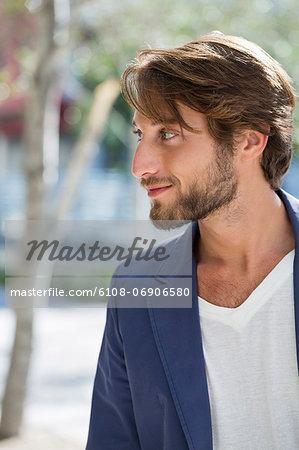Close-up of a man looking away