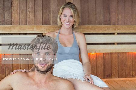 Portrait of a couple in a sauna