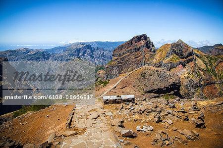 Madeira Island, Pico do Arieiro, road with stone bench