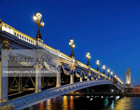 France, Paris, Alexandre III bridge at night