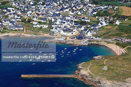 France, Brittany, Morbihan. Kerroc'h. Aerial view.