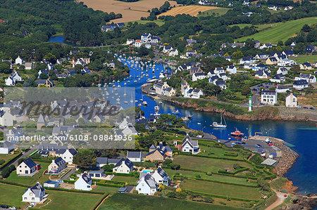France, Brittany, Morbihan. Moelan sur mer. Doelan. Aerial view.