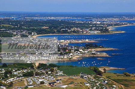 France, Brittany, Morbihan. Aerial view. Pointe du Talus. Larmor-Plage.