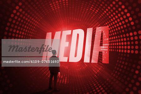 Media against red pixel spiral