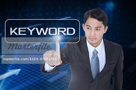 Keyword against grid and arrows on black background