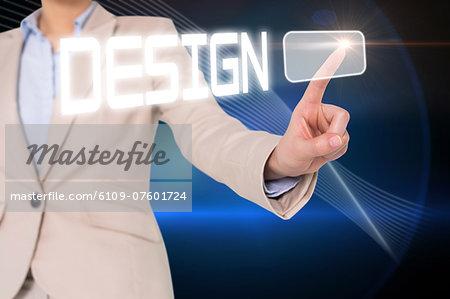 Businesswomans finger touching cesign button