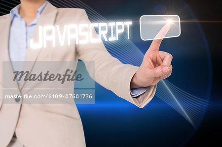 Businesswomans finger touching javascript button