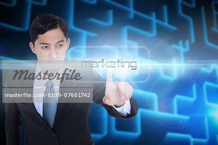Marketing against shiny lines on black background