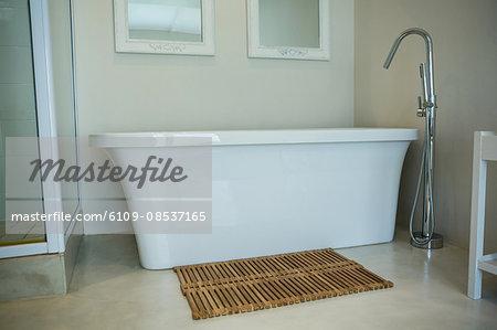 Bathtub in a modern bathroom