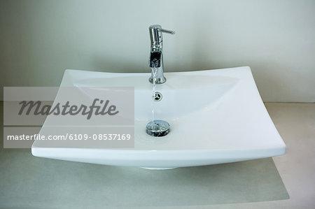 Modern white sink in bathroom