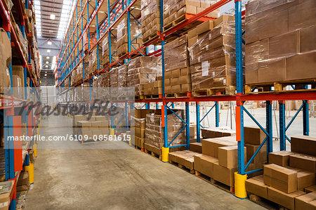 High angle view of warehouse aisle