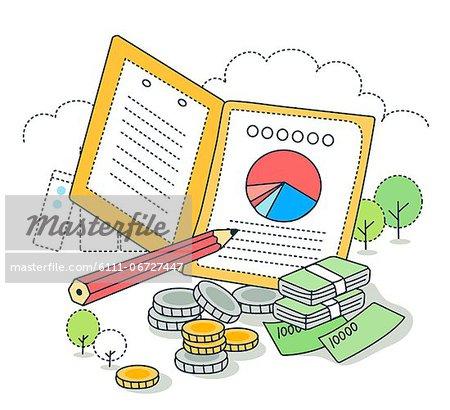 Concept of financial graph through pie chart