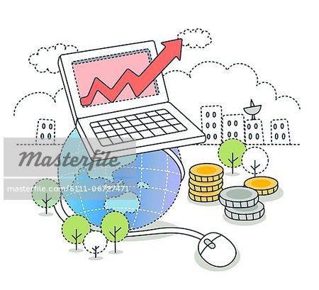 Illustration of laptop on globe depicting growth