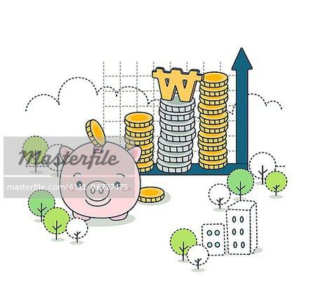 Concept of economy savings