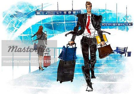 Illustration of businessman on business travel