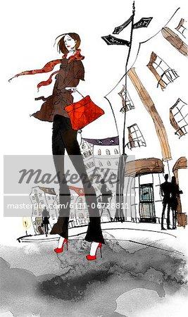 Woman Standing With Handbag On Road